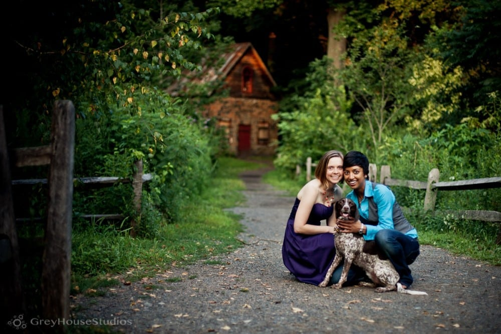 Illina + Kristin's Eli Whitney Museum same-sex Engagement photos in Hamden, CT