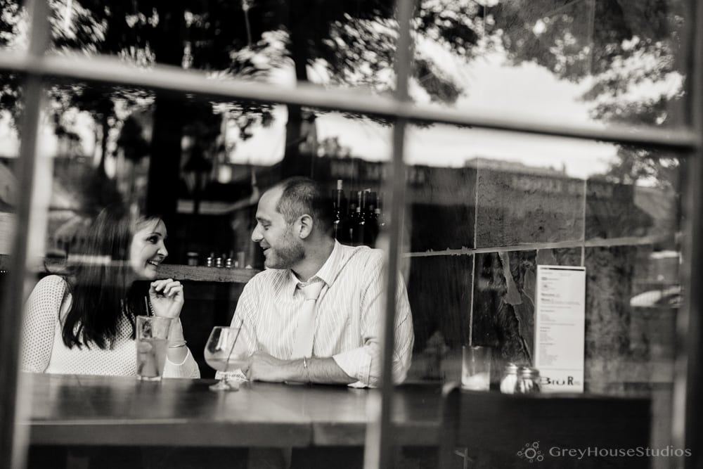 Heather + Anthony's Bar Restaurant + Yale Engagement photos in New Haven, CT by GreyHouseStudios