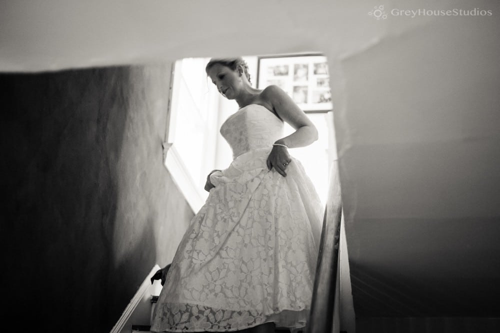 bride walking down stairs getting ready new haven