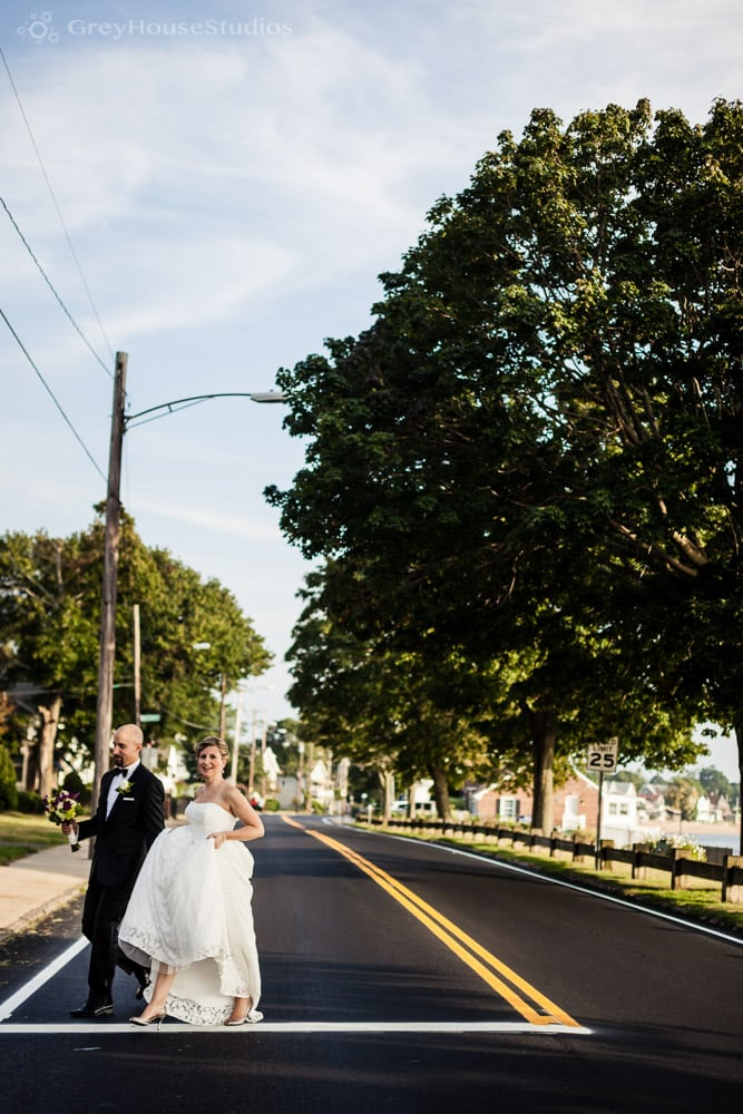 bride groom wedding day couples portrait crossing street photos new haven