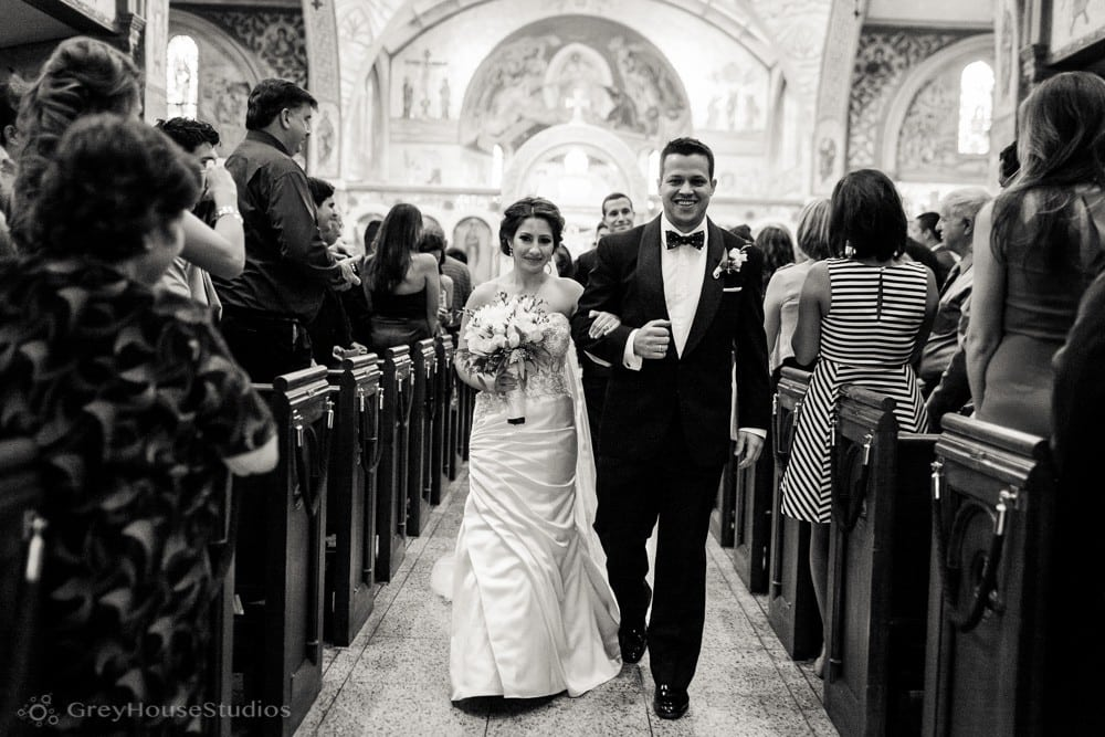 long island wedding ceremony bride groom walking down aisle cathedral st paul hempstead photo