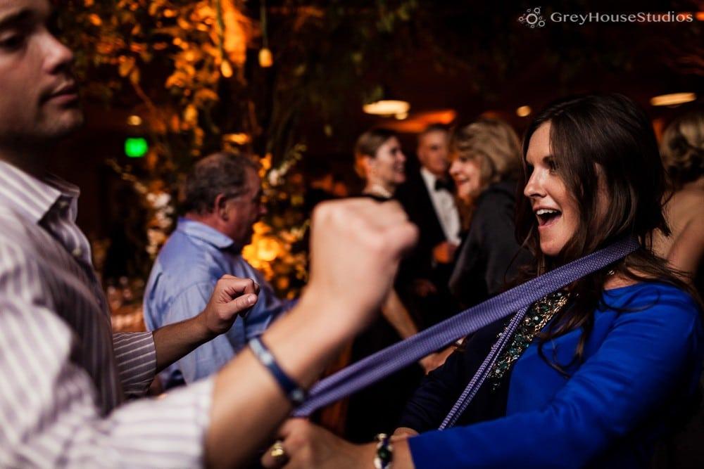 winvian wedding reception photos dancing pulling on tie