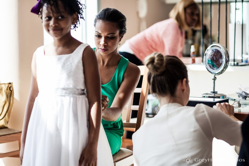 nyc east village wedding photos flower girls getting ready before ceremony