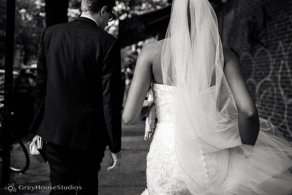 nyc wedding bride and groom walking ceremony middle collegiate church after first look