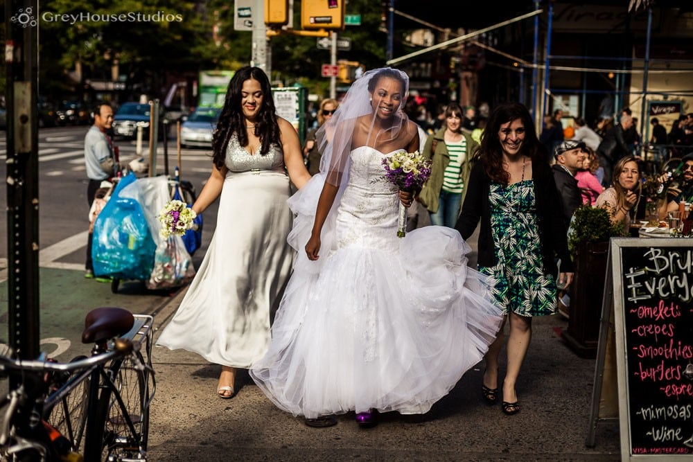 nyc wedding bride walking from middle collegiate church to reception at ukrainian east village