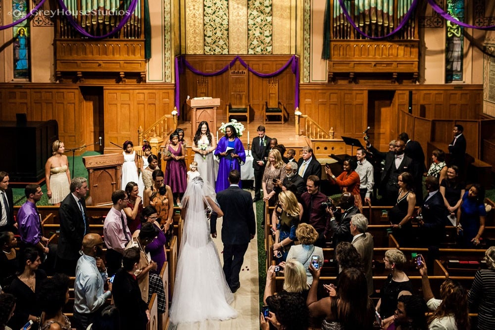middle collegiate church nyc wedding ceremony father daughter walking down aisle photos