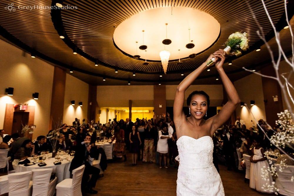ukrainian east village nyc wedding reception bouquet toss photos